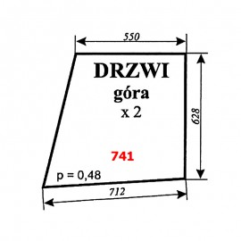 Szyba górna drzwi Ursus 6014, kabina Sokółka
