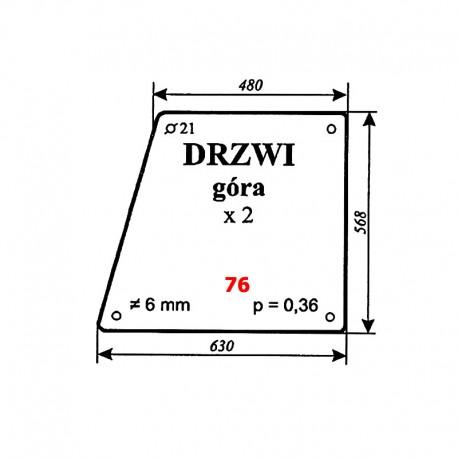 Szyba górna drzwi Ursus 4512, 4514, 5314 (31976 K91)