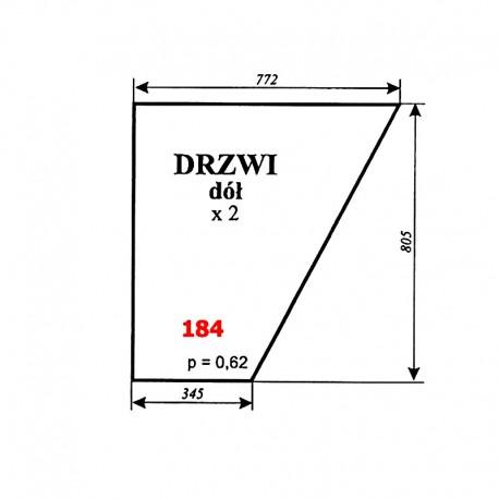 Szyba dolna drzwi MF-255, kabina Luboń k. Poznania