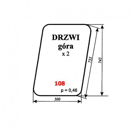 Szyba górna drzwi MF-255, kabina Lubsko (wariant)