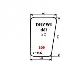 Szyba dolna drzwi MF-255, kabina Lubsko (wariant)