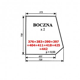 Szyba boczna MF-235, kabina Smolniki (KOJA)
