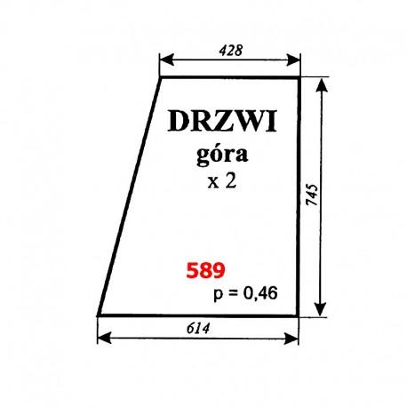 Szyba górna drzwi MF-255, kabina POM Zamość (prod. 1996)