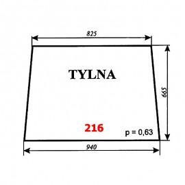 Szyba tylna T25A, kabina czeska