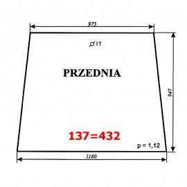 Szyba przednia T25A, kabina polska