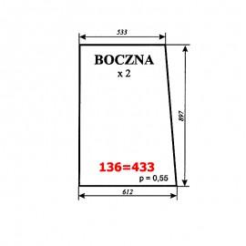 Szyba boczna T25A, kabina polska