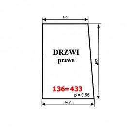 Szyba drzwi prawych T25A, kabina polska