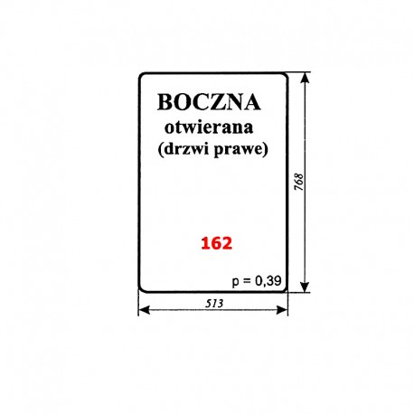 Szyba drzwi prawych T25 A2 Władimiriec, kabina rosyjska