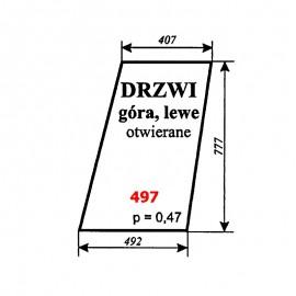 Szyba górna drzwi lewych T25 A2 kabina Sokółka