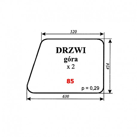 Szyba górna drzwi kabiny ciągnika MTZ-82