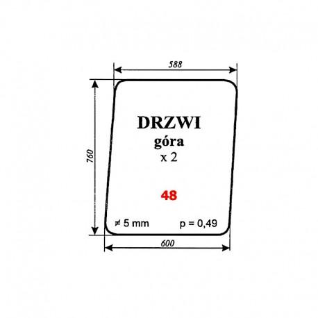Szyba górna drzwi MTZ-82 Białoruś 80-6700 Type 3