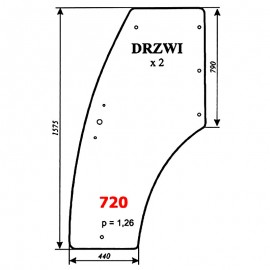 Szyba drzwi kabiny ciągnika Pronar 320A