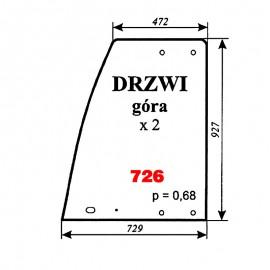 Szyba górna drzwi Pronar 82A, 82SA, 82TSA, 1025A, 1221A