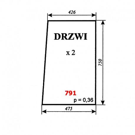 Szyba drzwi ciągnika T-25 A2, kabina Naglak (Koźmin)