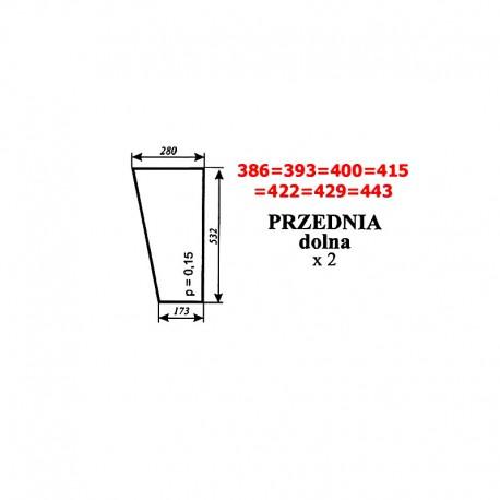 Szyba przednia dolna Ursus Nimet 25T, kabina Smolniki (KOJA)