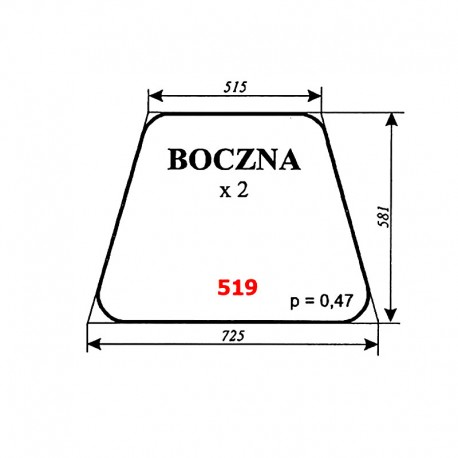 Szyba boczna IMT-579 (Jugosławia)