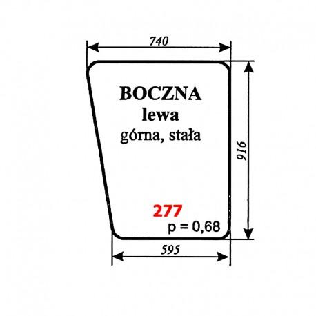 Szyba boczna lewa górna kabiny kombajnu Bizon