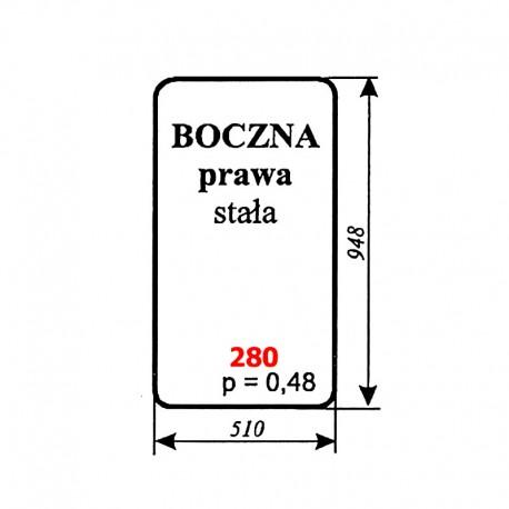 Szyba boczna prawa stała kabiny kombajnu Bizon
