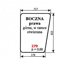 Szyba boczna prawa otwierana kabiny kombajnu Bizon