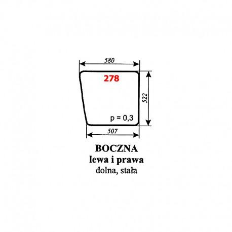 Szyba boczna dolna, lewa i prawa, kabiny kombajnu Bizon