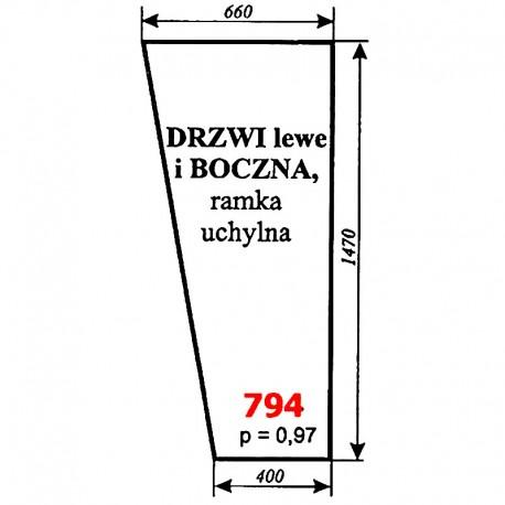 Szyba boczna i drzwi lewych kombajnu BIZON - kabina Naglak, Koźmin