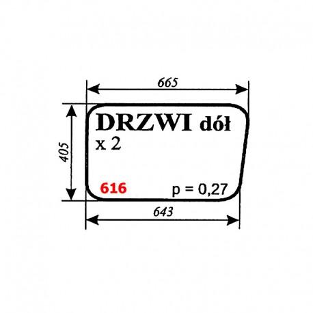 Szyba dolna drzwi spycharko-równiarki SHM 4-120