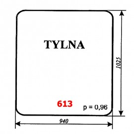 Szyba tylna spycharko-równiarki SHM 4-120