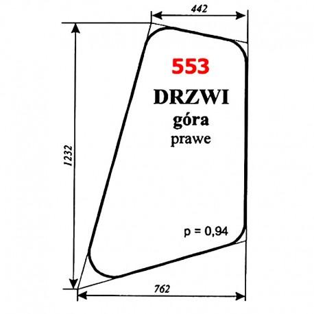 Szyba drzwi prawych koparki WARYŃSKI 420-109-00, 420, 622