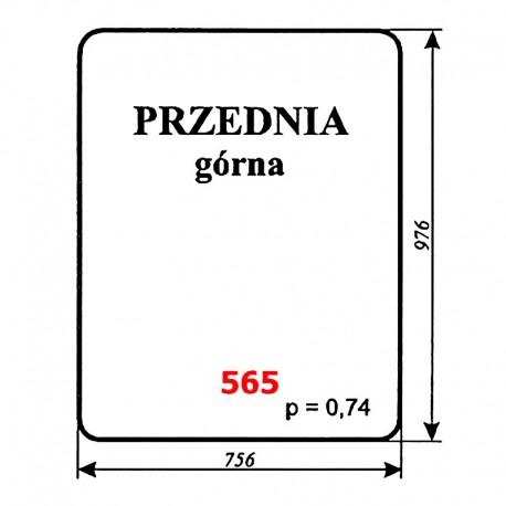 Szyba przednia górna koparki WARYŃSKI 406-110-00A, 406, 408, 407