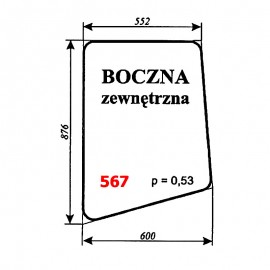 Szyba boczna zewn. koparki WARYŃSKI 406-110-00A, 406, 408, 407