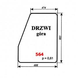 Szyba górna drzwi koparki WARYŃSKI 406-110-00A, 406, 408, 407