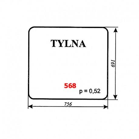 Szyba tylna koparki WARYŃSKI 406-110-00A, 406, 408, 407