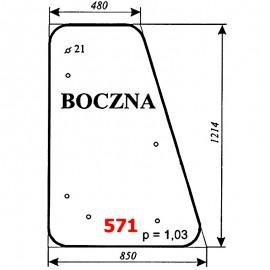 Szyba boczna koparki WARYŃSKI 726A-109A-00