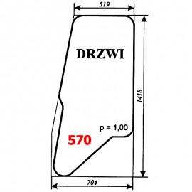 Szyba drzwi koparki WARYŃSKI 726A-109A-00