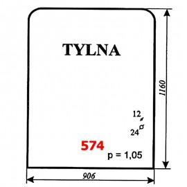 Szyba tylna koparki WARYŃSKI 726A-109A-00