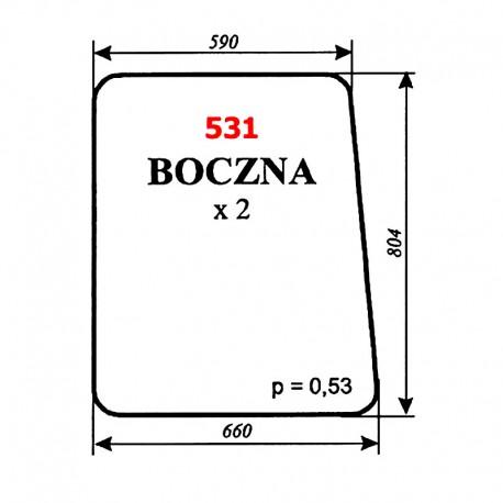 Szyba boczna koparki Białoruś JUMZ2-6K14 (1989)