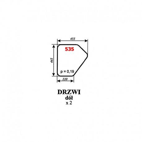 Szyba dolna drzwi koparki Białoruś JUMZ2-6K14 (1989)