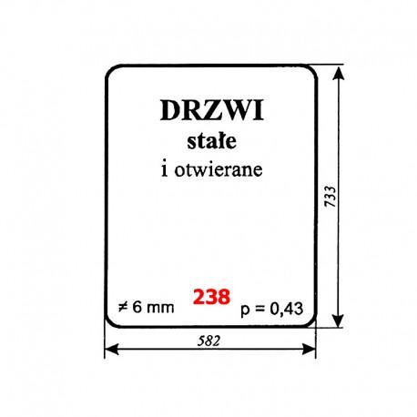 Szyba drzwi ciągnika gąsienicowego DT-75