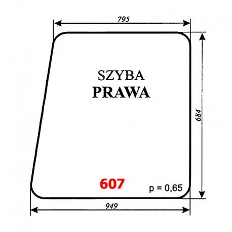 Szyba prawa kabiny dźwigu DUT-82 (FAMABA Głogów)