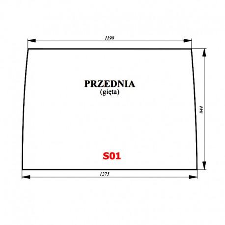 Szyba przednia bezbarwna ciągnika Proxima / Forterra