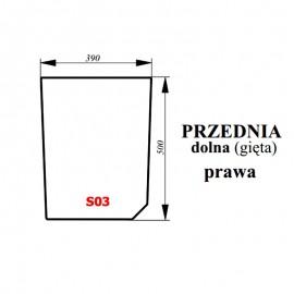 Szyba przednia dolna prawa bezbarwna ciągnika Proxima / Forterra