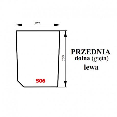 Szyba przednia dolna lewa zielona ciągnika Proxima / Forterra