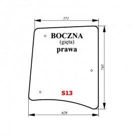 Szyba boczna prawa bezbarwna ciągnika Proxima / Forterra
