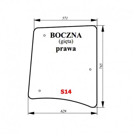 Szyba boczna prawa zielona ciągnika Proxima / Forterra