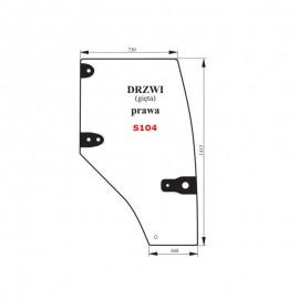 Szyba giÄ™ta drzwi prawych (zielona) CASE 80C, 90C, 100C