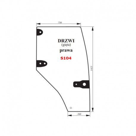 Szyba gięta drzwi prawych (zielona) CASE 80C, 90C, 100C
