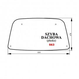 Szyba dachowa (zielona) JOHN DEERE Serie 5005 E, 5020, 5100
