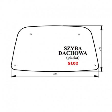Szyba dachowa (bezbarwna) JOHN DEERE Serie 5005 E, 5020, 5100