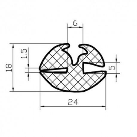 Uszczelka z klinem do szyb ciągnikowych, typ 009