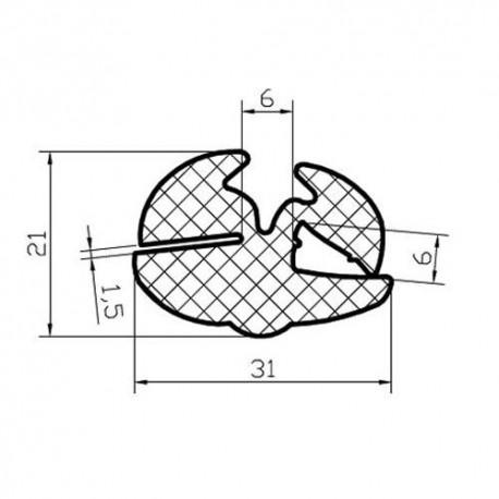 Uszczelka z klinem do szyb ciągnikowych, typ 008